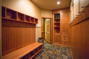Mud room off garage with hooks and nooks for a family's gear.