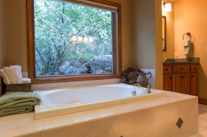 Relax for a while and enjoy the foliage from the master bath tub.